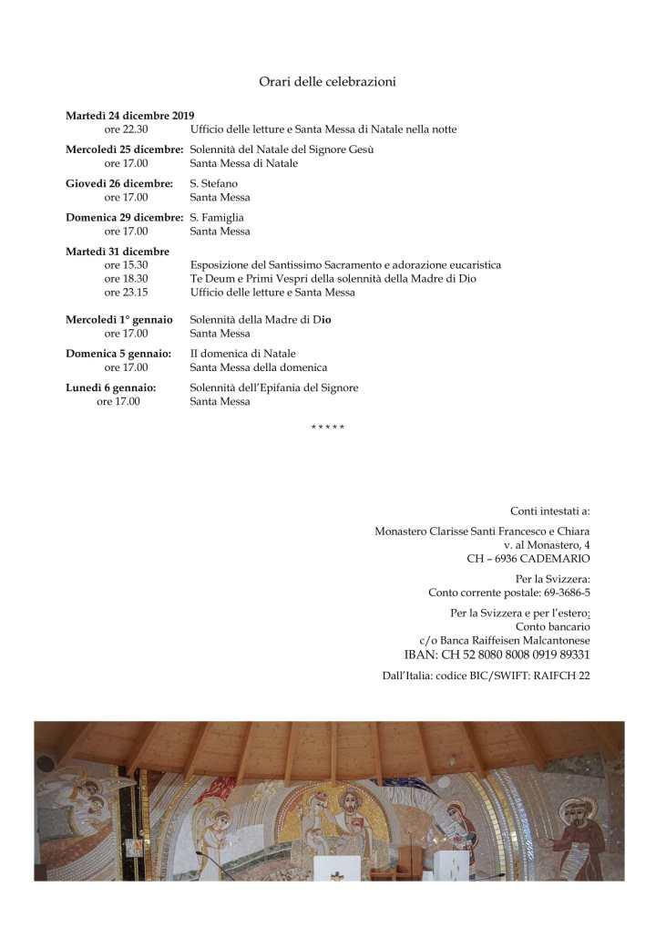 s. Natale 2019 - Monastero Cademario-4